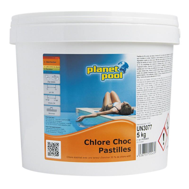 Chlore choc pastilles de 20 g Planet Pool - Seau 5 kg