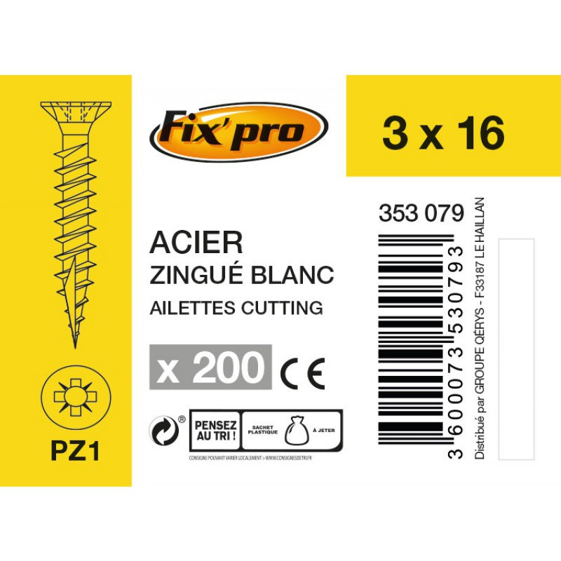 Vis à bois tête fraisée PZ - 3x16 - 200pces - Fixpro