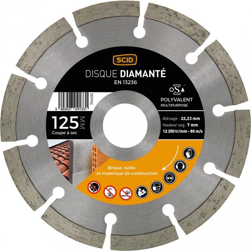 Disque diamanté polyvalent matériaux SCID - Diamètre 125 mm