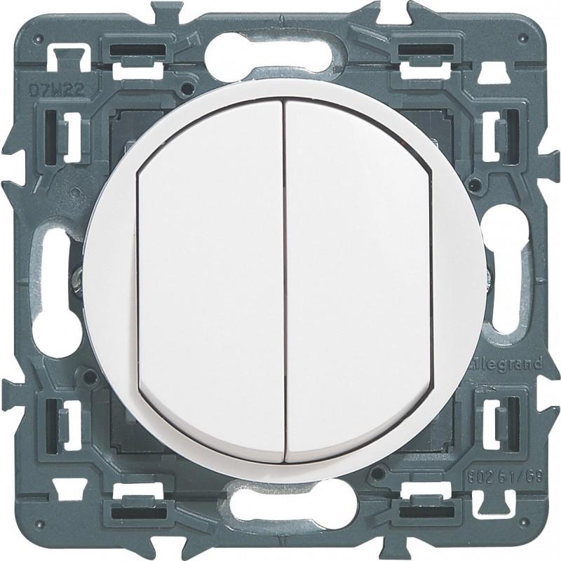 Poussoir + Interrupteur ou va-et-vient Legrand - Céliane - Blanc
