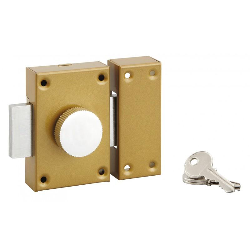 Verrou de sureté à bouton et cylindre PVM - Longueur 40 mm