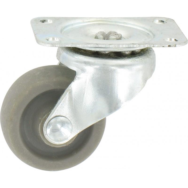 Roulette Mini Roll à platine pivotante Guitel point M - Roue Plastex gris - Charge utile 12 kg