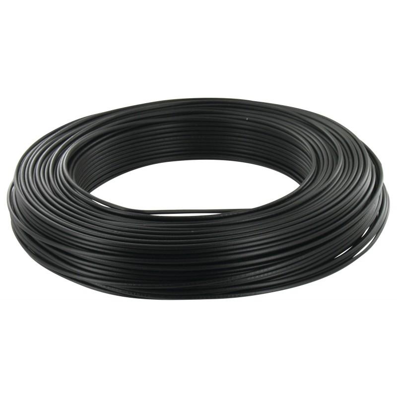 Fil H07 V-U 2,5 mm² - Couronne 100 m - Noir