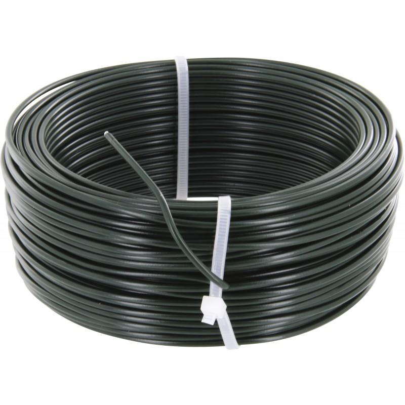 Fil de tension galvanisé plastifié - Longueur 100 m - Diamètre 2,7 mm - Vert