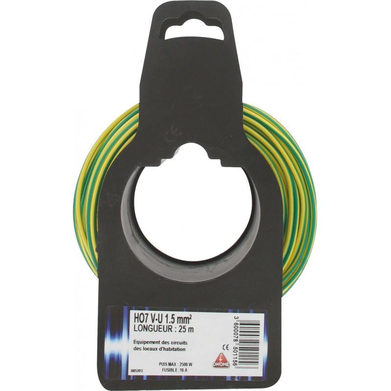 Fil H07 V-U 1,5 mm² Dhome - Longueur 25 m - Vert / jaune