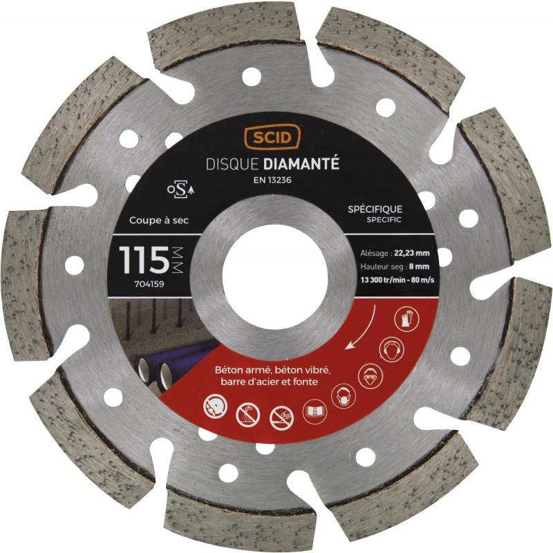 Disque diamanté ventillé béton métal SCID - Diamètre 115 mm