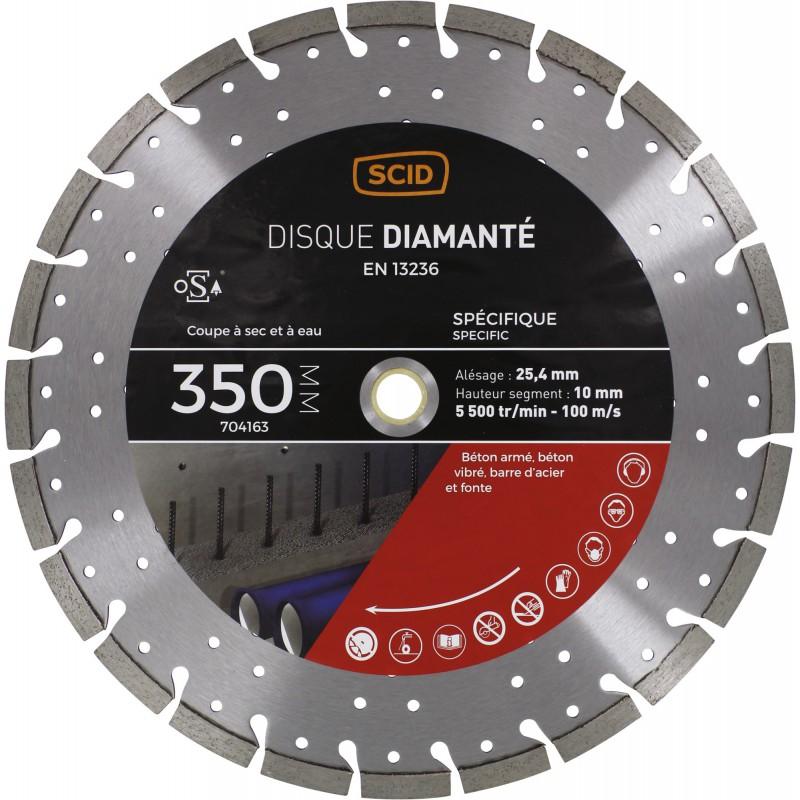 Disque diamanté ventillé béton métal SCID - Diamètre 350 mm