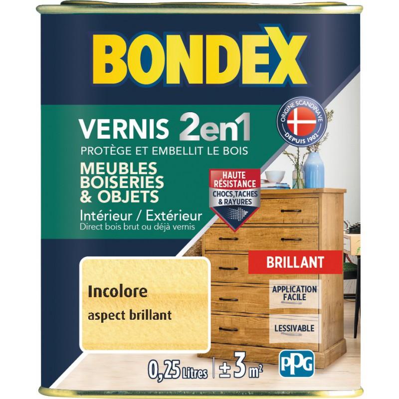 Vernis bois intérieur et extérieur 2 en 1  bondex - Aspect brillant - 250 ml