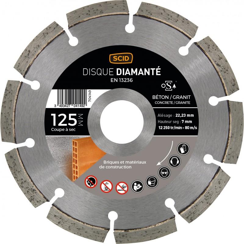 Disque diamanté béton granit SCID - Diamètre 125 mm