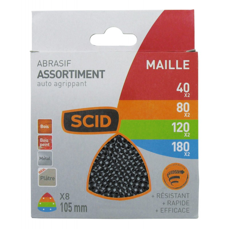 Patin maille auto-agrippant 105 mm SCID - Grain 40, 80, 120, 180 - Vendu par 8