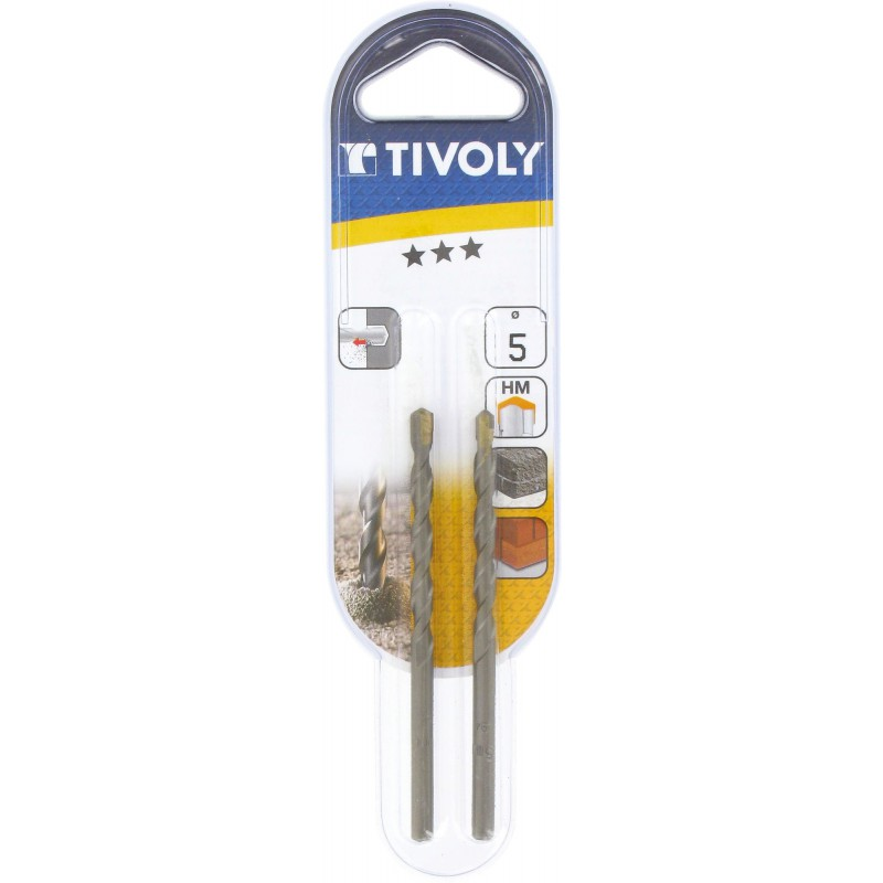 Foret à béton usage fréquent Tivoly - Longueur 85 mm - Diamètre 5 mm - Vendu par 2