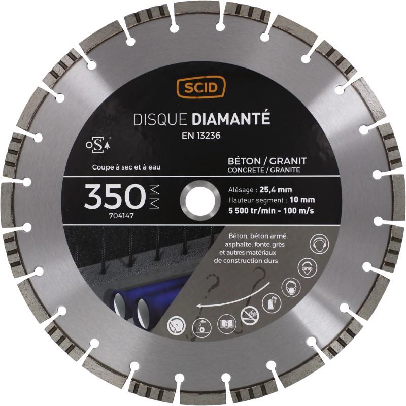 Disque diamanté béton granit ventillé SCID - Diamètre 350 mm