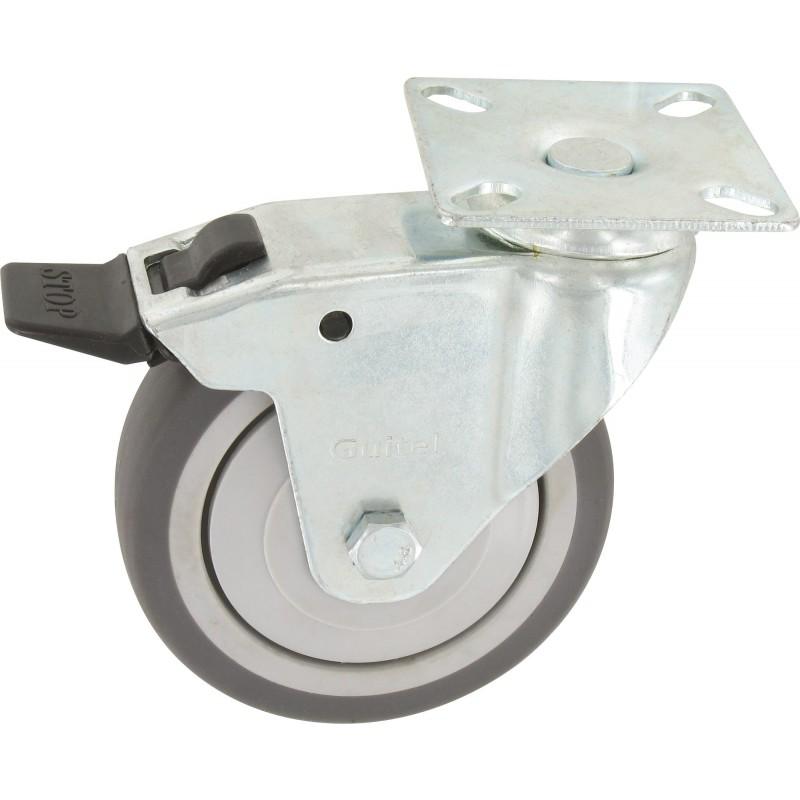Roulette Uniroll à oeil pivotante à frein Guitel point M - Diamètre 75 mm