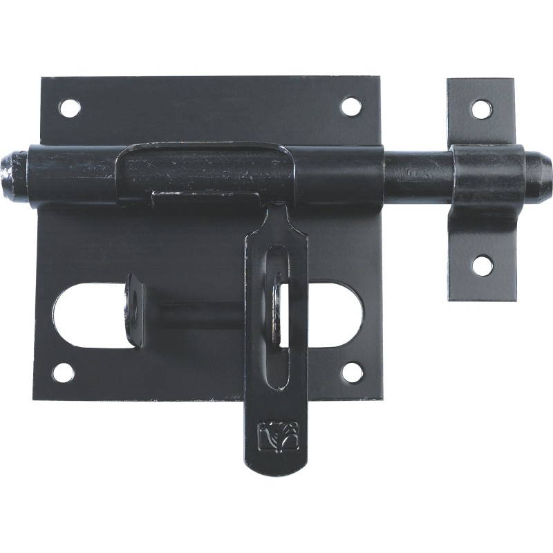 Verrou de box avec porte cadenas Torbel - Acier noir - Diamètre pêne 10 mm