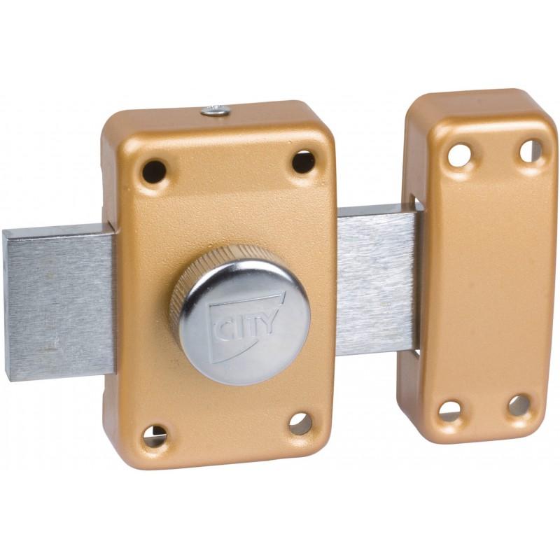 Verrou à bouton bronze - Cylindre 40 mm - Pêne 110 mm - City 25 - ISÉO