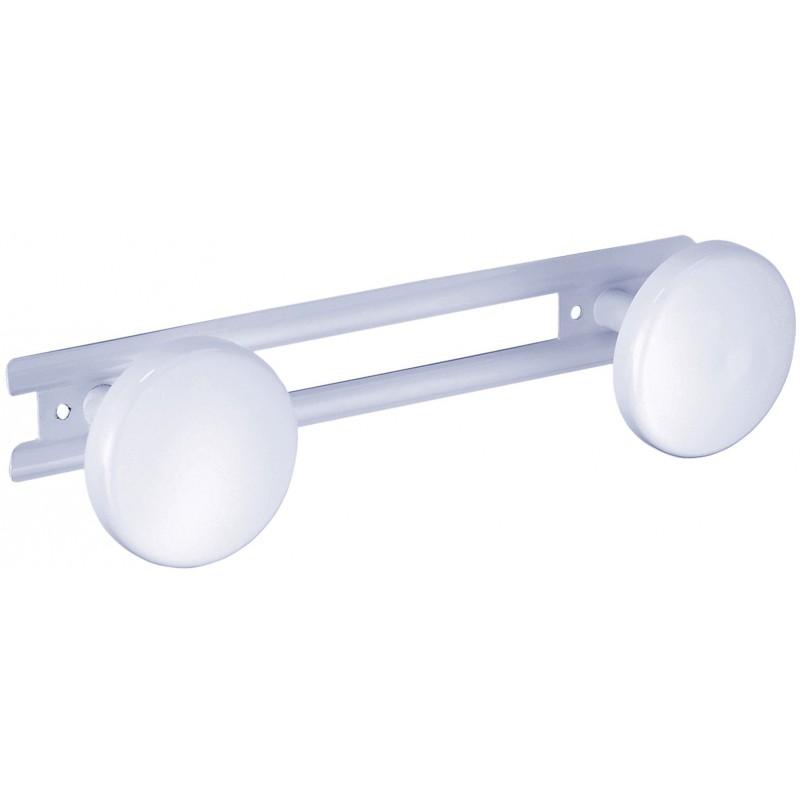 Portemanteau métallique Godonnier - Laqué blanc - 2 têtes - Longueur 24,5 cm