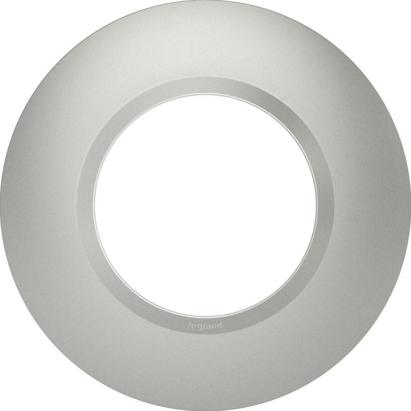 Plaque  déco 1 poste rond Dooxie Legrand - Effet aluminium mat