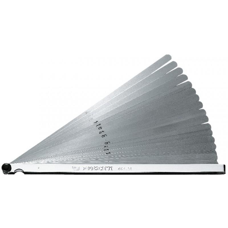 Jauge d'épaisseur métrique 19 lames rondes Facom - 90 mm