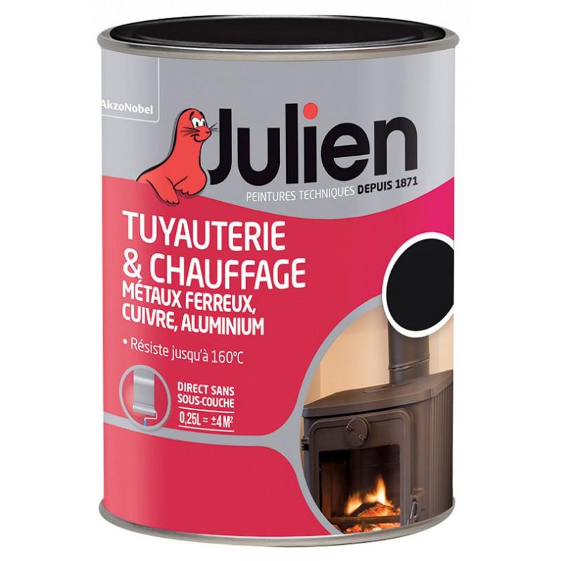 Peinture tuyauterie et chauffage Julien - Noir - Brillant - 250 ml