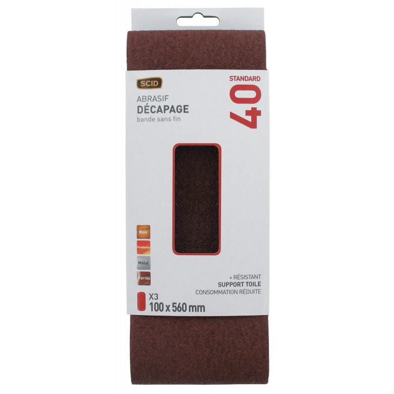 Bande abrasive sans fin SCID - Grain 40 - Dimensions 100 x 560 mm - Vendu par 3