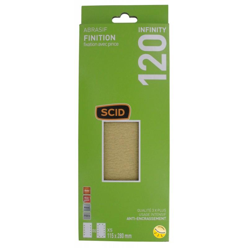 Patin fixation avec pince 115 x 280 mm SCID - Grain 120 - Vendu par 5