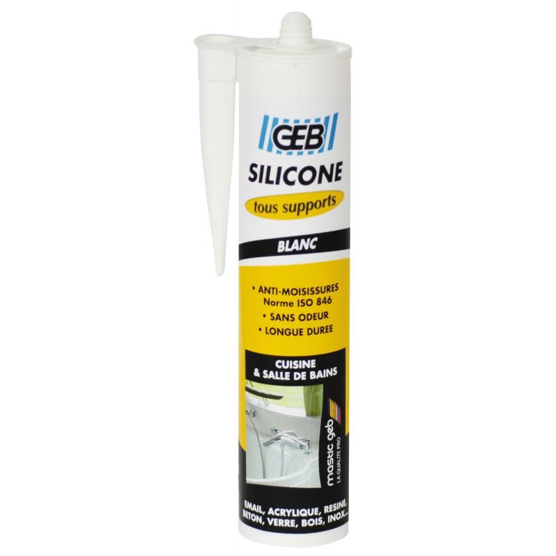 Mastic silicone surface synthétique et émaillée Geb - Blanc