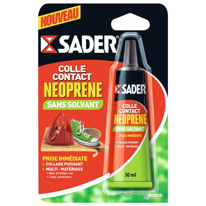 Colle contact sans solvant type néoprène Sader - Tube 30 ml