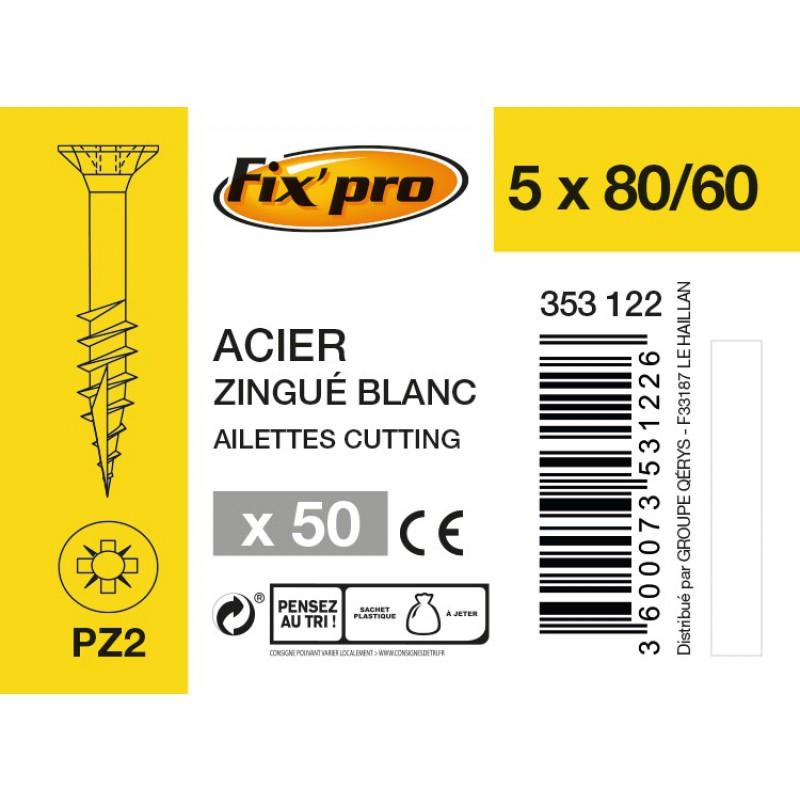 Vis à bois tête fraisée PZ - 5x80/60 - 50pces - Fixpro