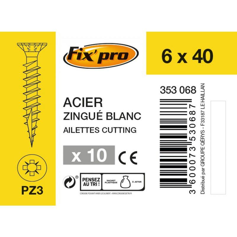 Vis à bois tête fraisée PZ - 6x40 - 10pces - Fixpro