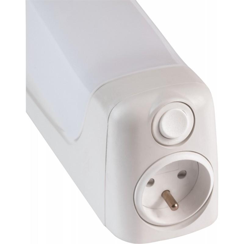 Réglette applique de salle de bain avec interrupteur et prise Talasso Aric  - Blanc