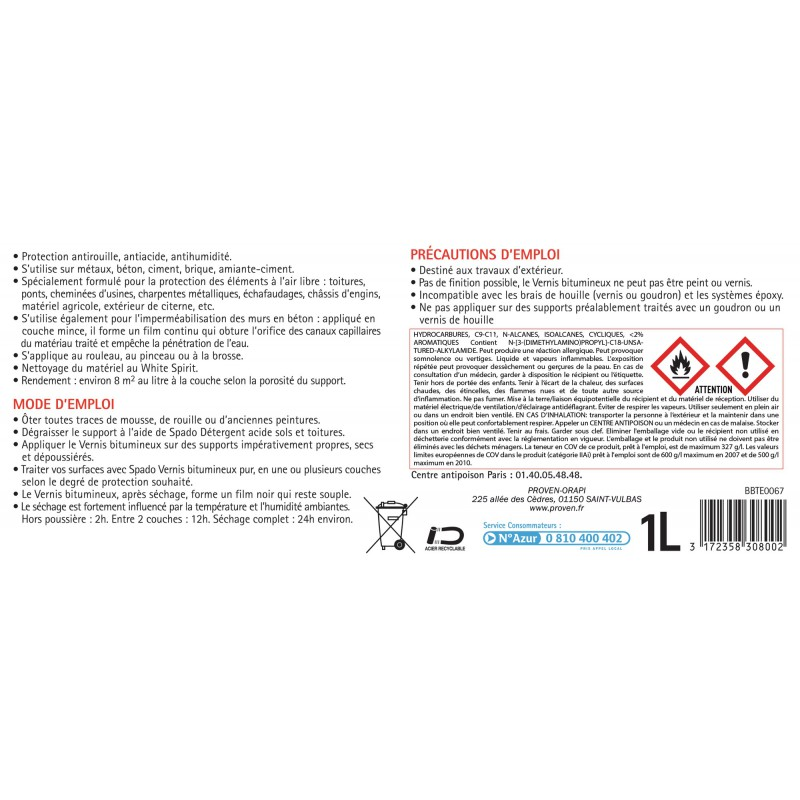 Vernis noir bitumeux Spado - Bidon 1 l