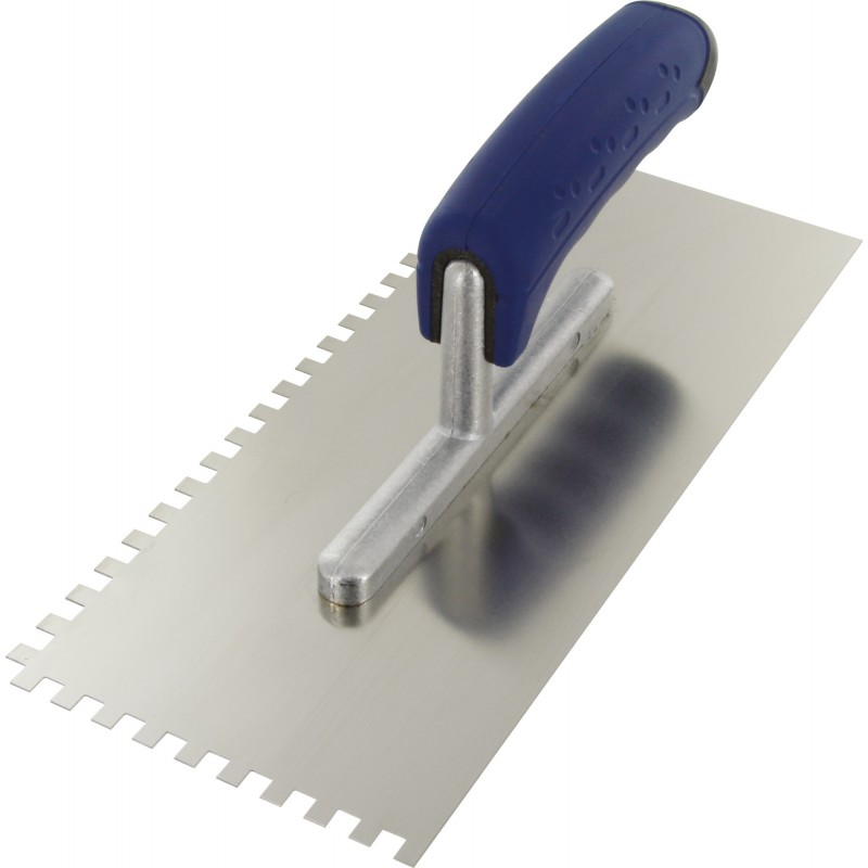 Platoir lame acier inoxydable dentée sur deux cotés Outibat - Denture de 6 x 6 - Dimensions 280 x 120 mm