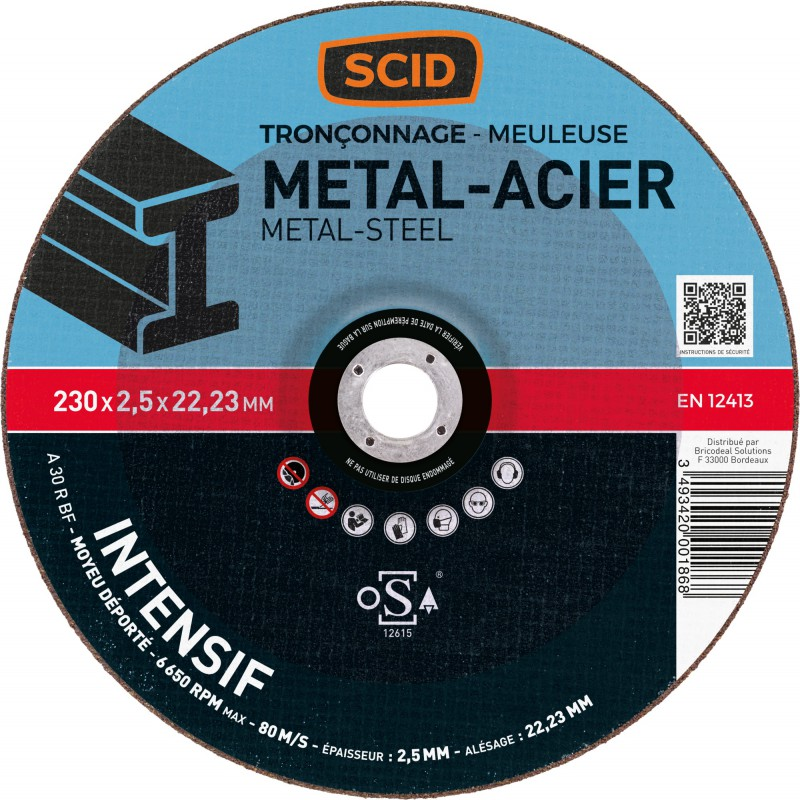 Disque à tronçonner usage fréquent SCID - Métaux - Diamètre 230 mm - Alésage 22,2 mm