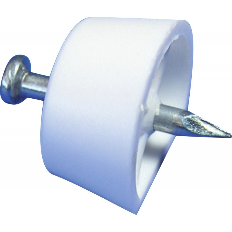 Taquet plastique avec clou Strauss Vonderweidt - Blanc - Vendu par 12