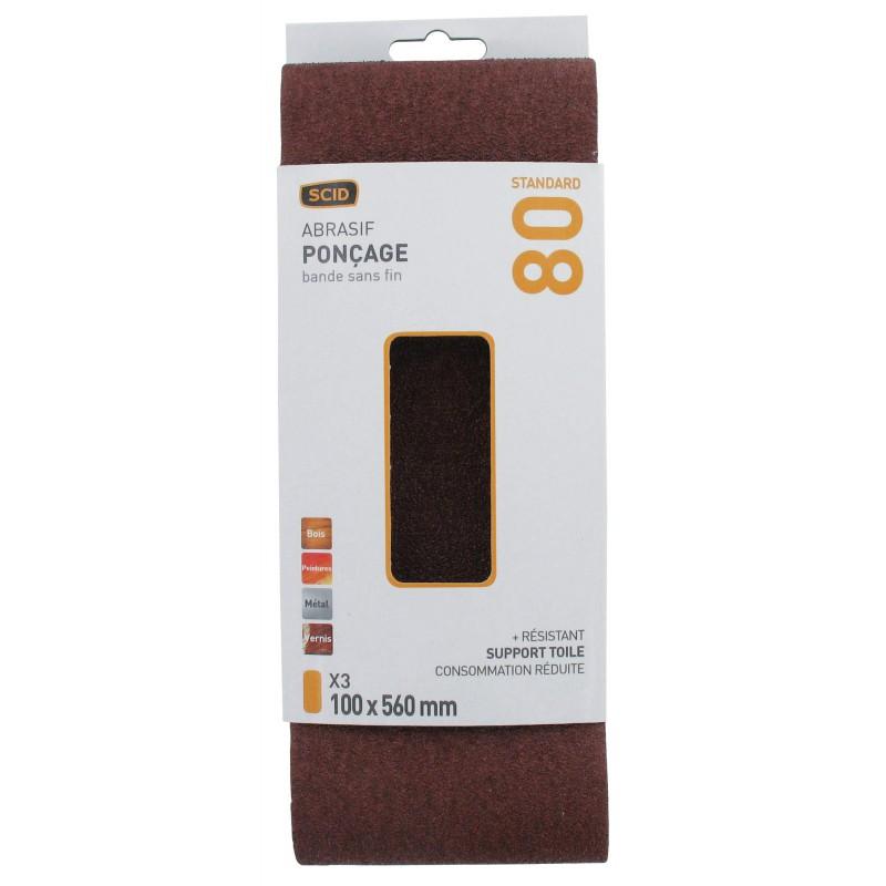 Bande abrasive sans fin SCID - Grain 80 - Dimensions 100 x 560 mm - Vendu par 3
