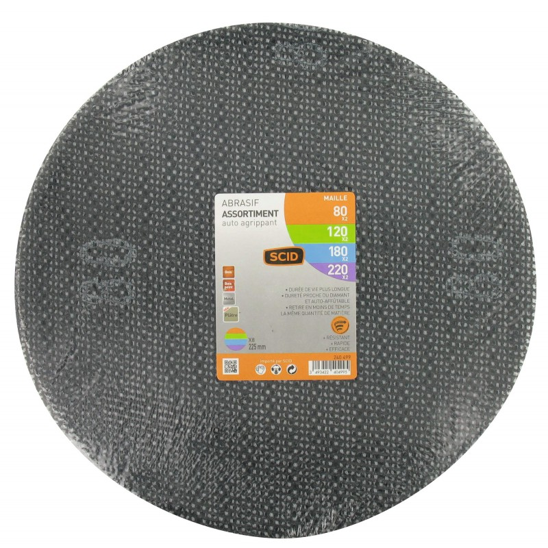 Disque maille auto-agrippant diamètre 225 mm SCID - Grain 80, 120, 180, 220 - Vendu par 8