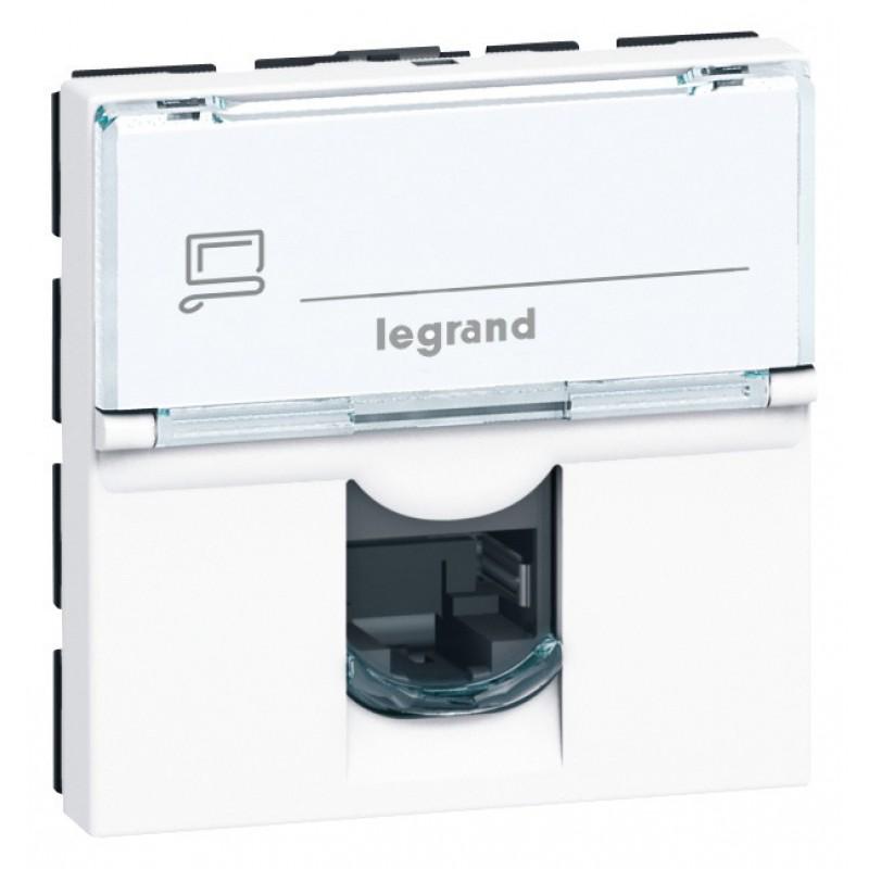 Prise RJ45 informatique - téléphone Legrand - Mosaïc - 2 modules