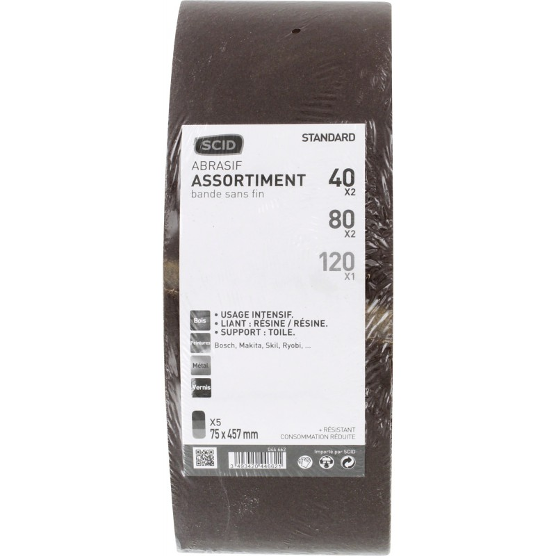 Bande sans fin abrasive SCID - Dimensions 75 x 457 mm - Grain 40, 80, 120 - Vendu par 5