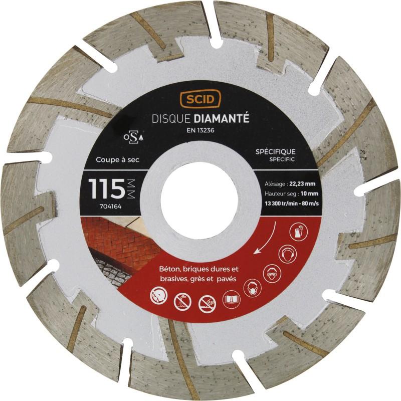 Disque diamanté matériaux durs et abrasifs SCID - Diamètre 115 mm