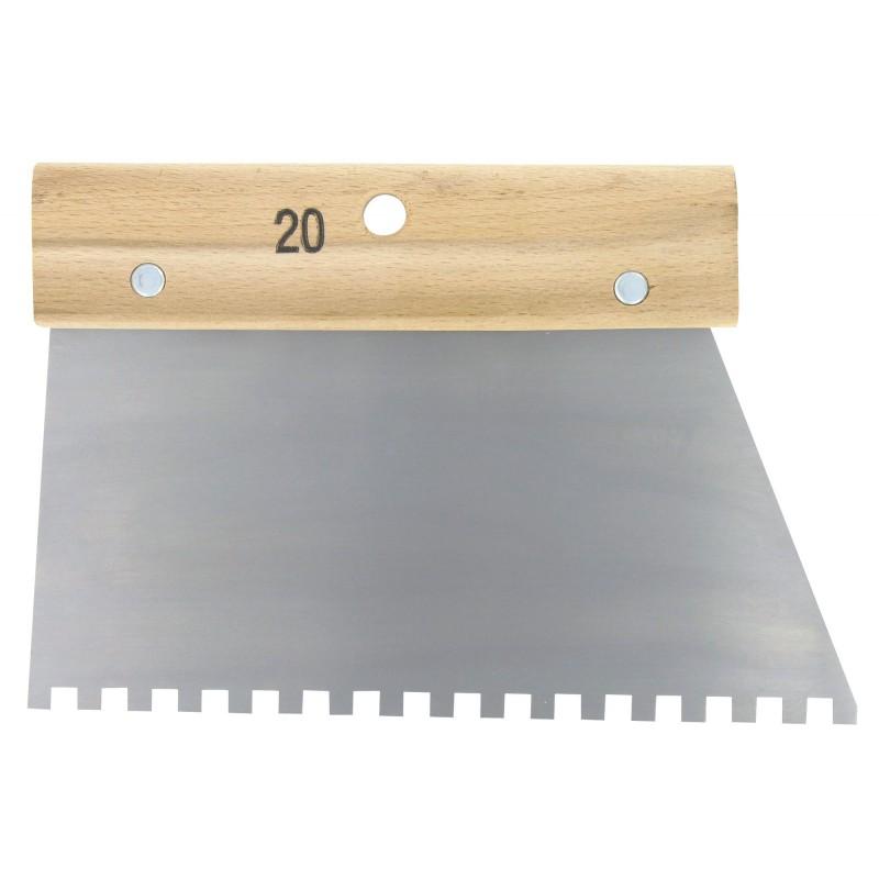 Couteau à colle Outibat - Denture carrée pour ciment colle - 6 x 6 mm - Dimensions 200 mm