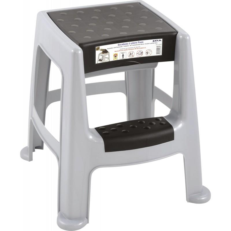 tabouret marchepied plastique avec coffre eda gris b ton et noir de marchepied. Black Bedroom Furniture Sets. Home Design Ideas