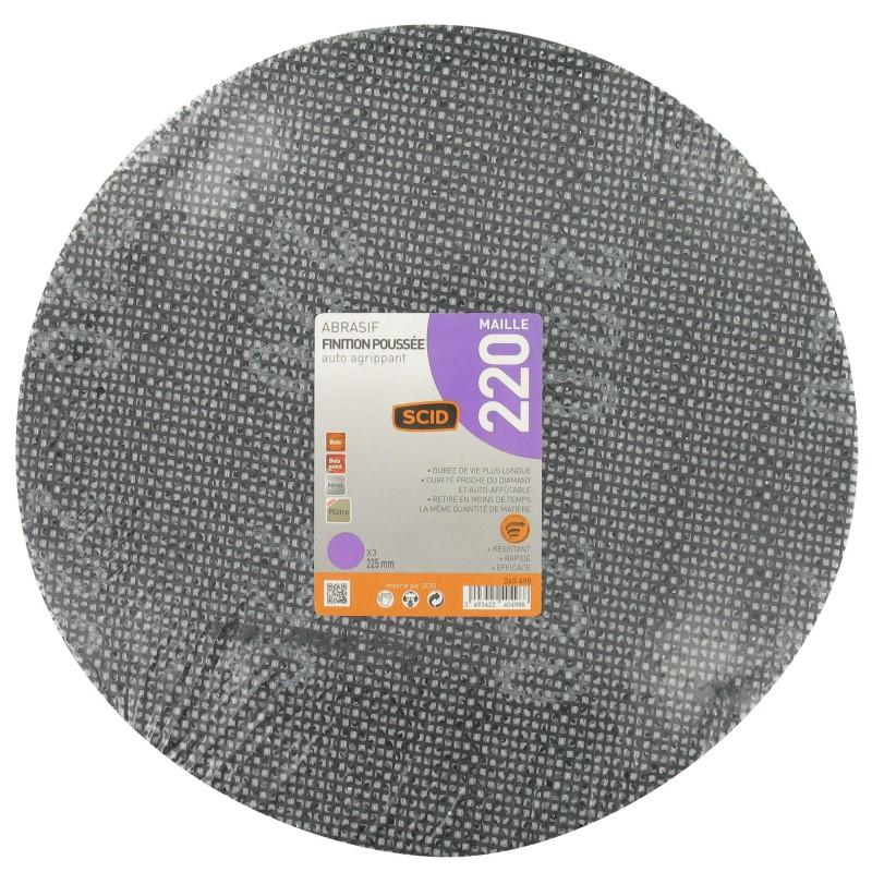 Disque maille auto-agrippant diamètre 225 mm SCID - Grain 220 - Vendu par 3