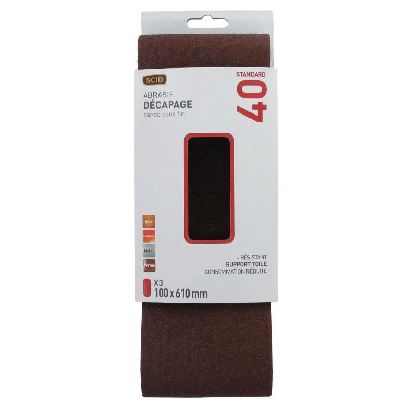 Bande sans fin abrasive SCID - Dimensions 100 x 610 mm - Grain 40 - Vendu par 3