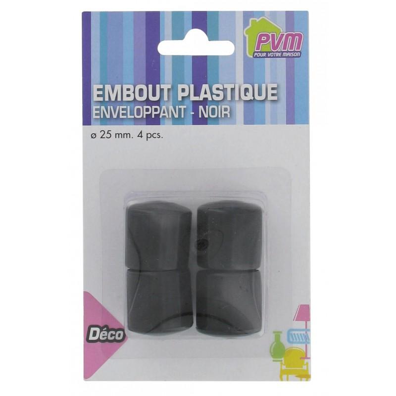 Embout enveloppant plastique noir PVM - Diamètre 25 mm - Vendu par 4