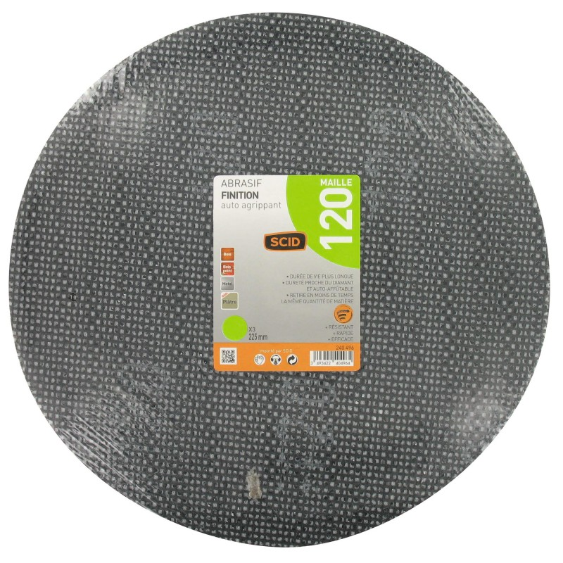 disque maille auto agrippant diam tre 225 mm scid grain 120 vendu par 3. Black Bedroom Furniture Sets. Home Design Ideas
