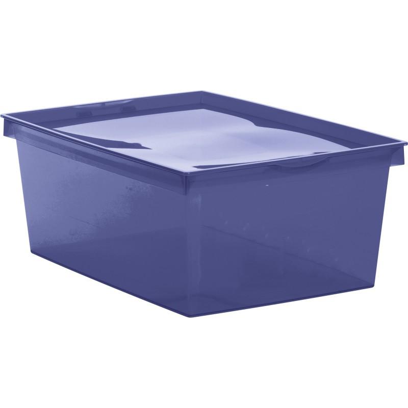 Boîte de rangement plastique Crystaline Eda - 18 l - Bleu profond