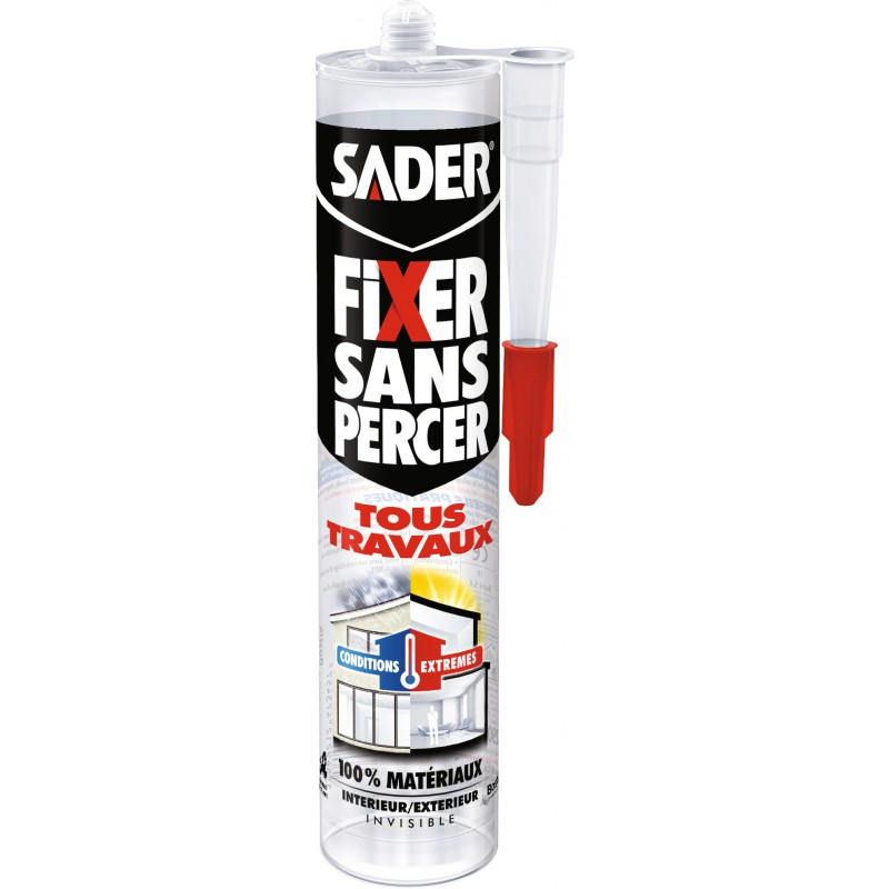 Fixer sans percer invisible Sader - Cartouche 290 ml
