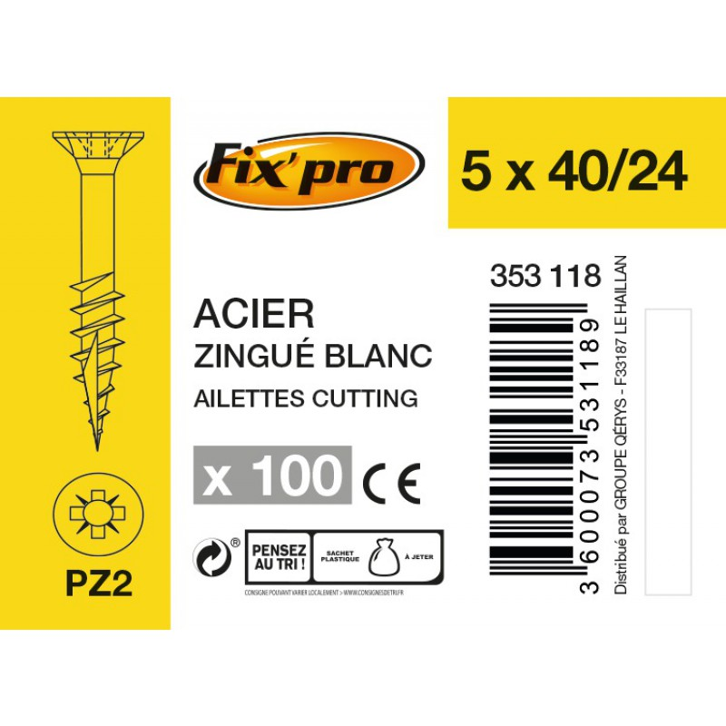 Vis à bois tête fraisée PZ - 5x40/24 - 100pces - Fixpro