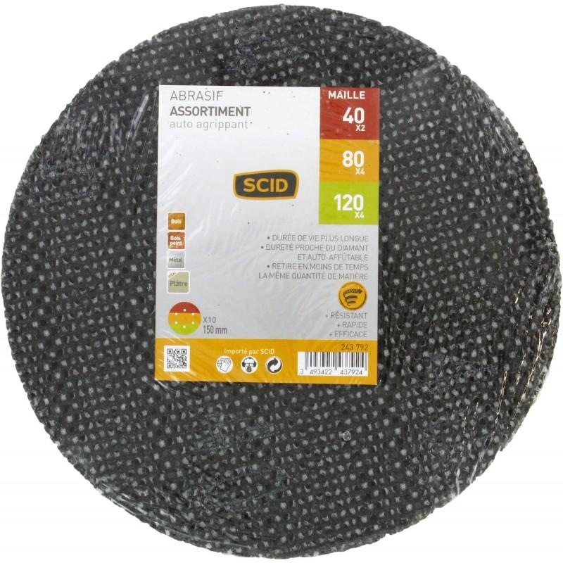 Disque maille auto-agrippant diamètre 150 mm SCID - Grain 40 x 2 - 80 x 4 - 120 x 4 - Vendu par 10