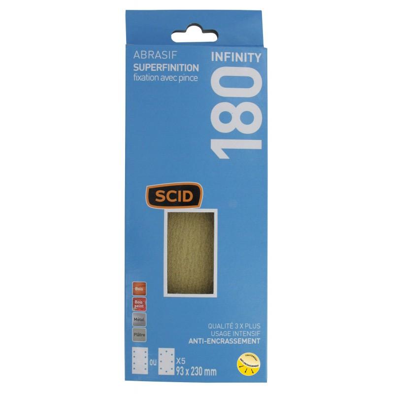 Patin fixation avec pince 93 x 230 mm SCID - Grain 180 - Vendu par 5